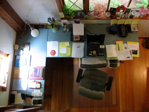 my desk at Hedgebrook (copyright Diana Rico 2005)